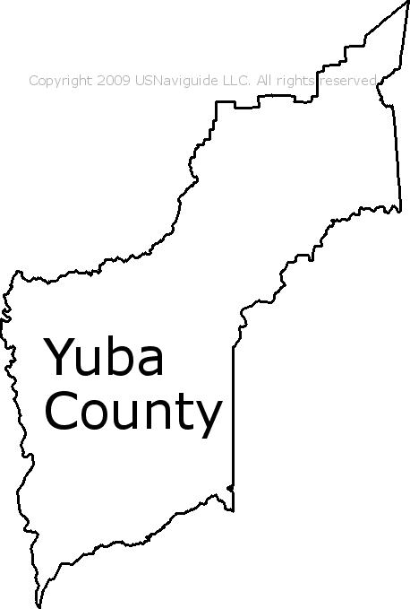 Yuba County California Zip Code Boundary Map Ca