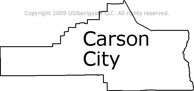 Carson City Nevada Zip Code Boundary Map Nv