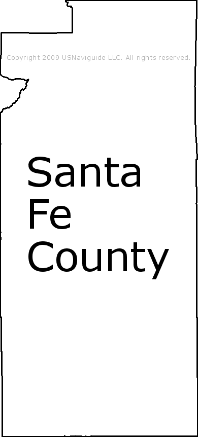 Santa Fe County New Mexico Zip Code Boundary Map Nm