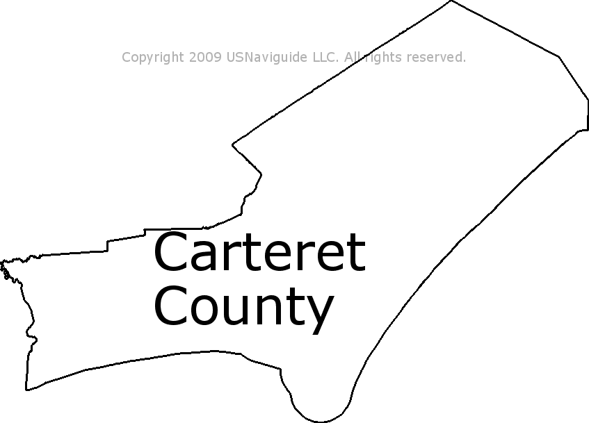 Carteret County - North Carolina Zip Code Boundary Map (NC) on
