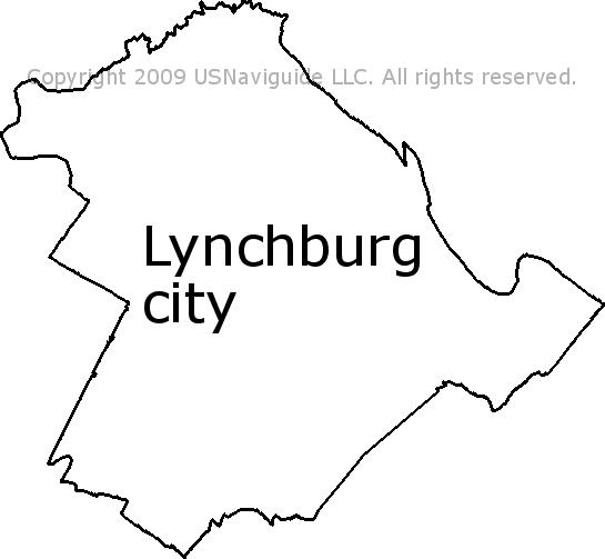 Lynchburg City Virginia Zip Code Boundary Map Va