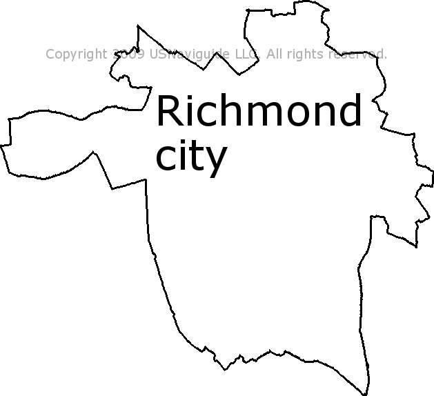 Richmond City Virginia Zip Code Boundary Map Va