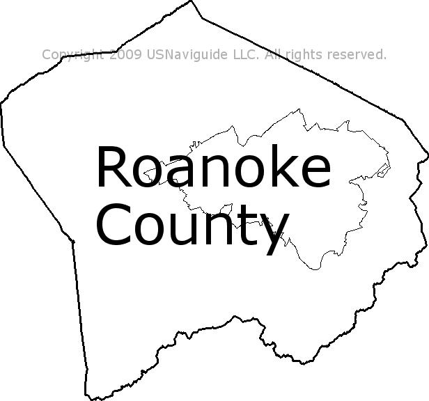 Roanoke Zip Code Map.Roanoke County Virginia Zip Code Boundary Map Va