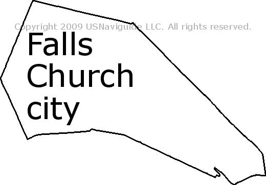 Falls Church Va Zip Code Map.Falls Church City Virginia Zip Code Boundary Map Va