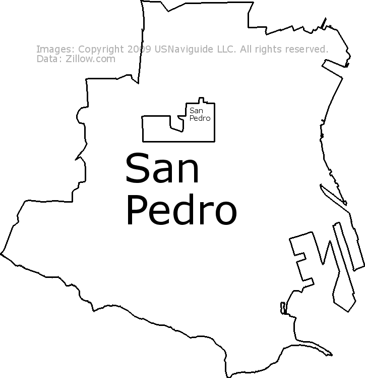 san pedro ca zip code map San Pedro Los Angeles California Zip Code Boundary Map Ca