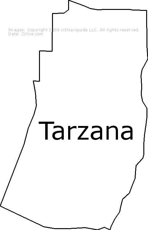 Tarzana Los Angeles California Zip Code Boundary Map Ca