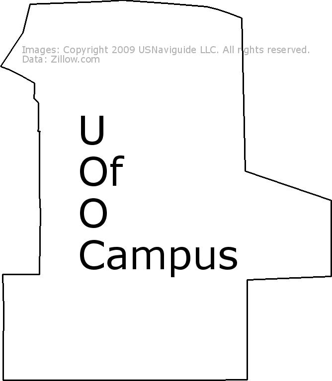 U Of O Campus Eugene Oregon Zip Code Boundary Map Or