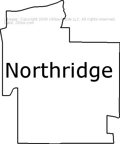 Northridge Los Angeles California Zip Code Boundary Map Ca