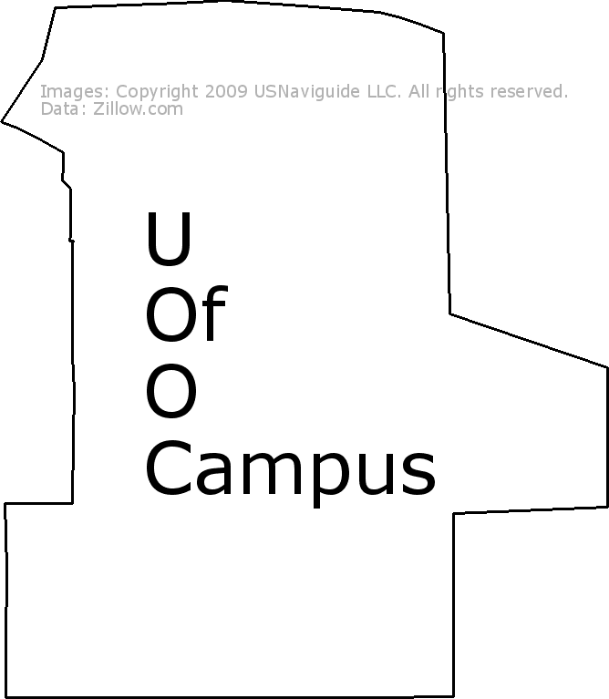 U Of O Campus Eugene Oregon Zip Code Boundary Map Or