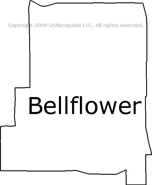 Bellflower California Zip Code Boundary Map Ca