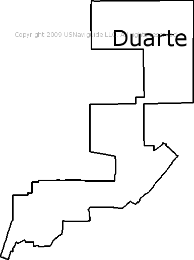 Duarte California Zip Code Boundary Map Ca