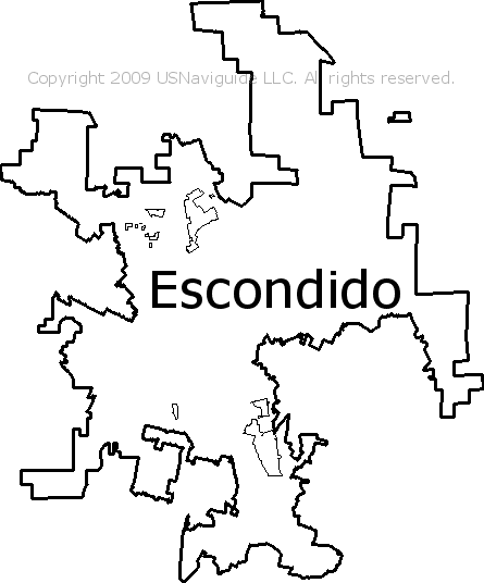 Escondido California Zip Code Boundary Map Ca