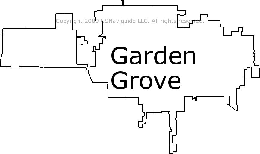 Garden Grove California Zip Code Boundary Map Ca