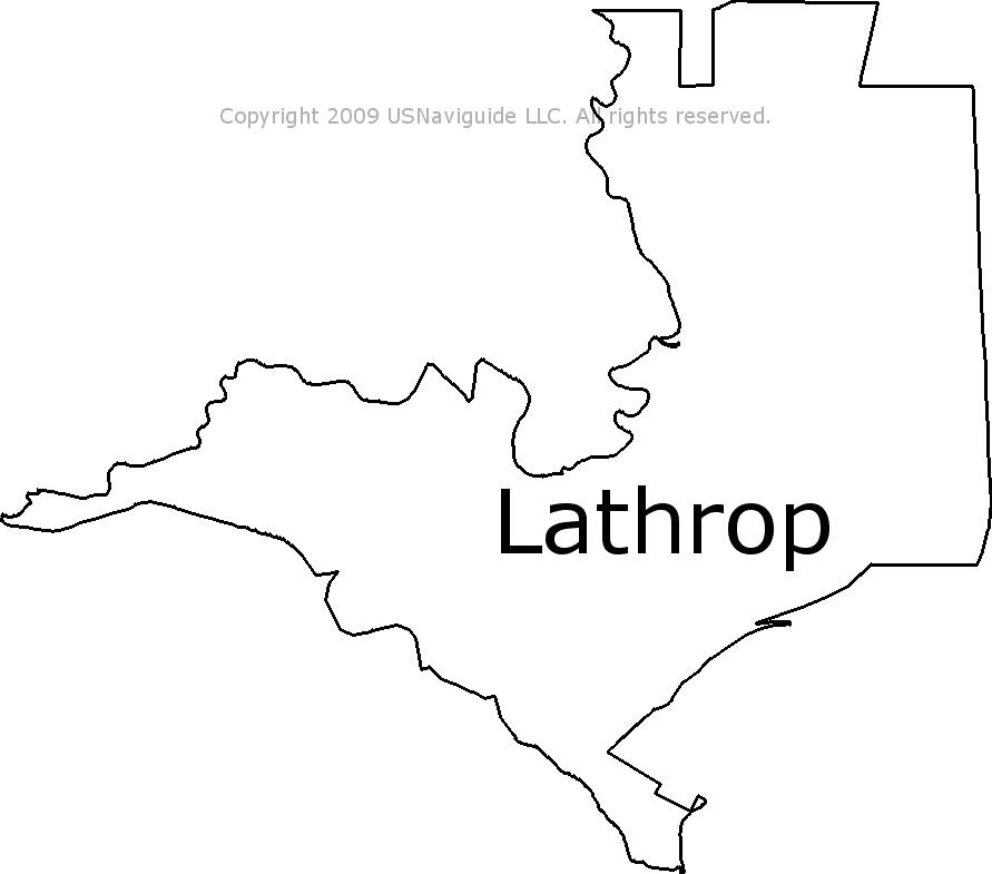 Lathrop California Zip Code Boundary Map Ca