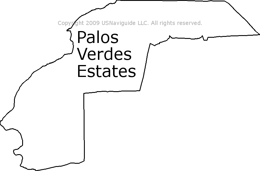 Palos Verdes Zip Code Map.Palos Verdes Estates California Zip Code Boundary Map Ca
