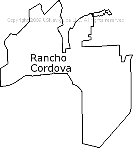 Rancho Cordova Zip Code Map.Rancho Cordova California Zip Code Boundary Map Ca