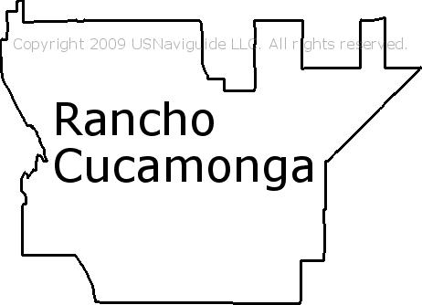Rancho Cucamonga California Zip Code Boundary Map Ca