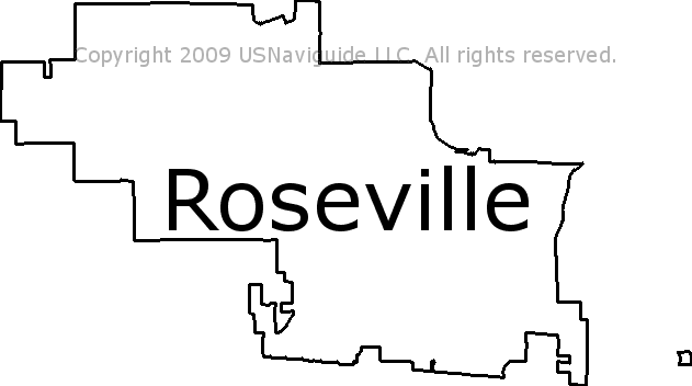 Roseville, California Zip Code Boundary Map (CA)