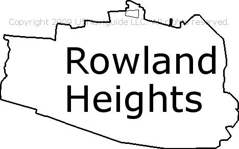 Rowland Heights California Zip Code Boundary Map Ca