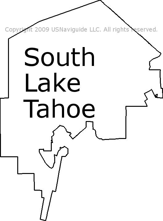 south lake tahoe zip code map South Lake Tahoe California Zip Code Boundary Map Ca