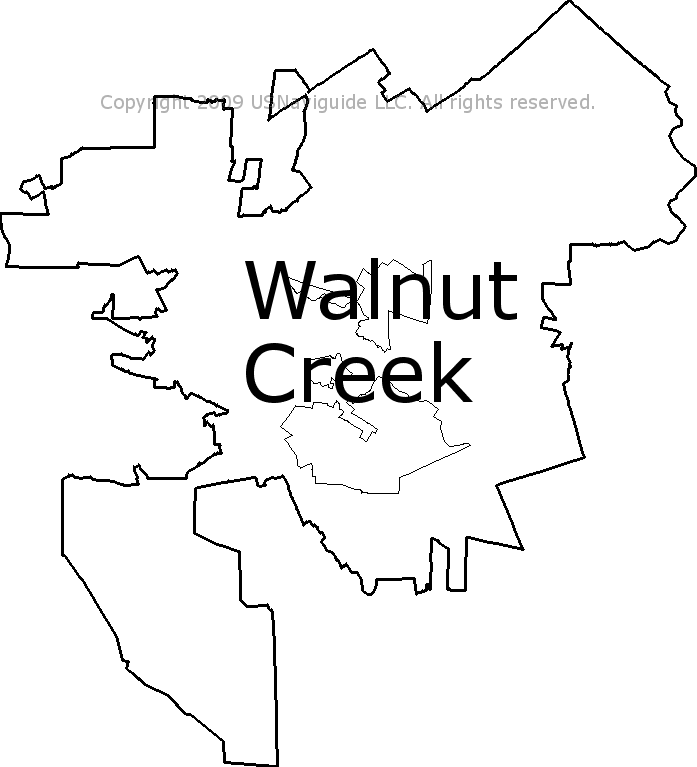 Walnut Creek California Zip Code Boundary Map Ca