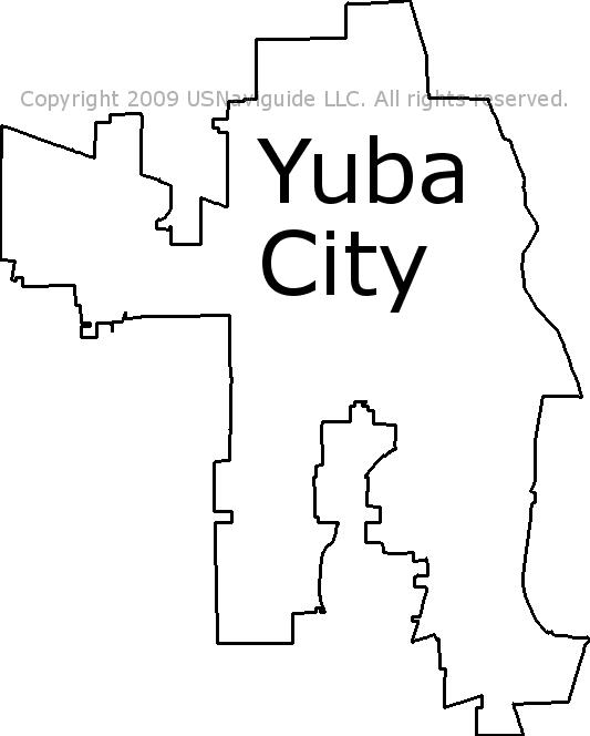 Yuba City California Zip Code Boundary Map Ca