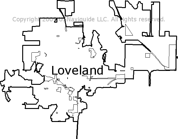 Loveland, Colorado Zip Code Boundary Map (CO)