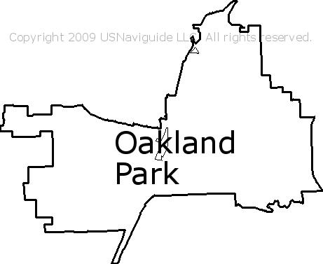 Oakland Park Florida Zip Code Boundary Map Fl