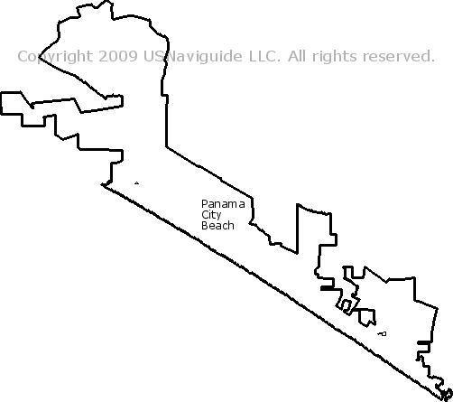 Panama City Fl Zip Code Map.Panama City Beach Florida Zip Code Boundary Map Fl