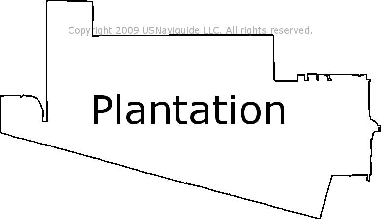 Plantation Florida Zip Code Boundary Map Fl
