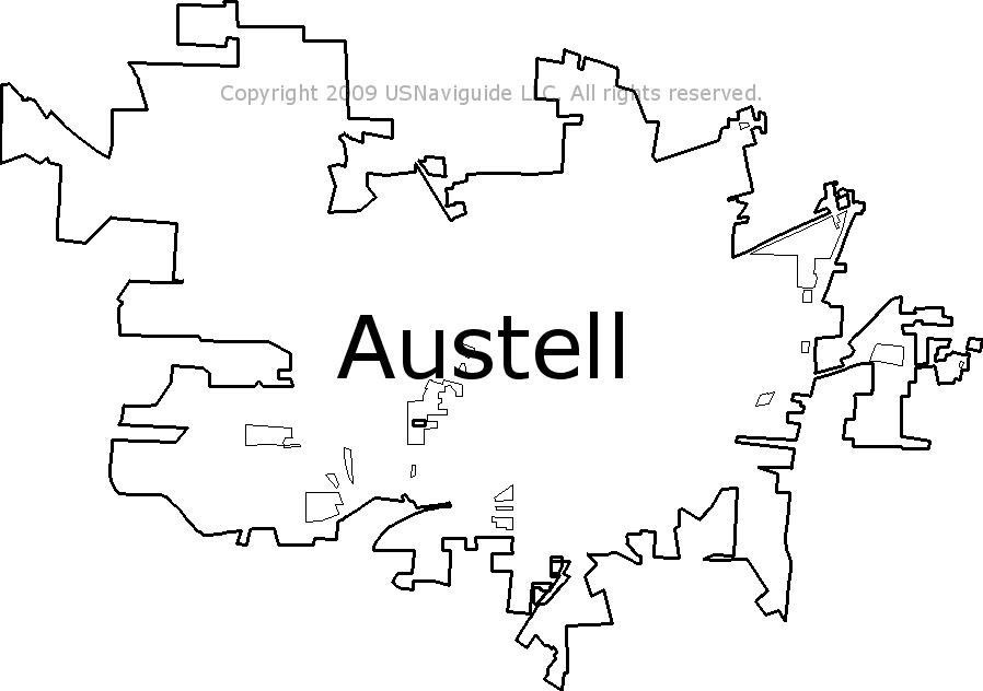 Austell Georgia Zip Code Boundary Map Ga