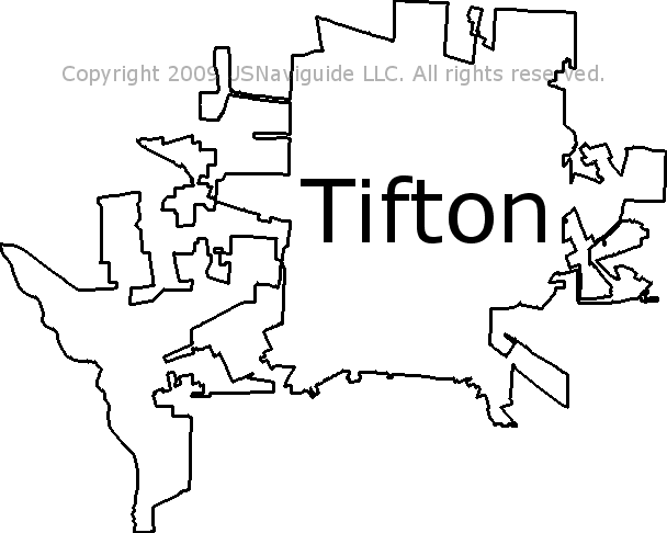 Tifton Georgia Zip Code Boundary Map Ga
