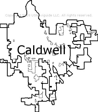 Caldwell Idaho Zip Code Boundary Map Id