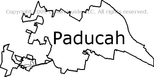 Paducah Kentucky Zip Code Boundary Map Ky