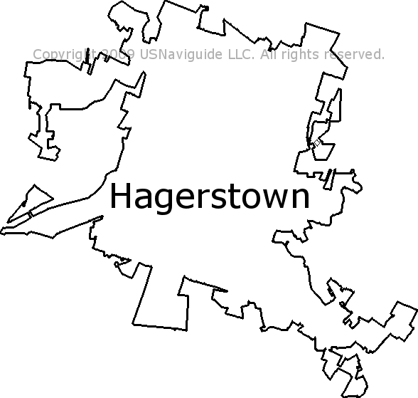Hagerstown Md Zip Code Map.Hagerstown Maryland Zip Code Boundary Map Md