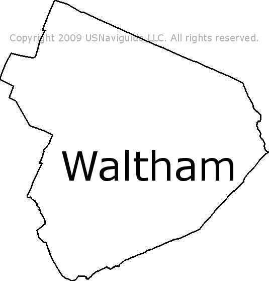 Waltham Massachusetts Zip Code Boundary Map Ma