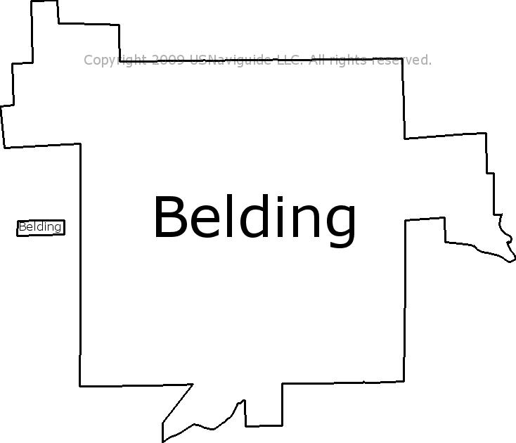 Belding Michigan Zip Code Boundary Map Mi