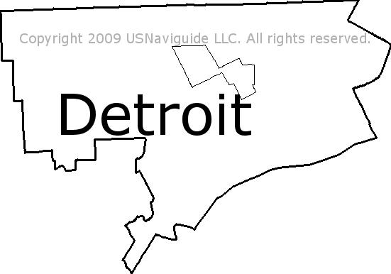 Detroit Michigan Zip Code Boundary Map Mi