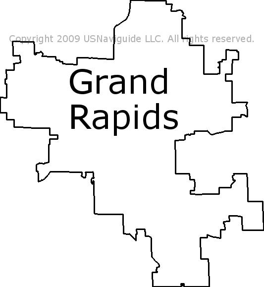 Grand Rapids Michigan Zip Code Boundary Map Mi