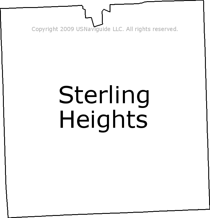 Sterling Heights Zip Code Map.Sterling Heights Michigan Zip Code Boundary Map Mi