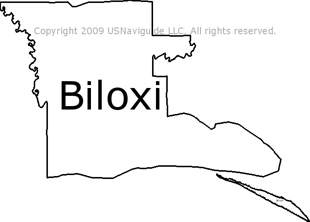 Biloxi Mississippi Zip Code Boundary Map Ms