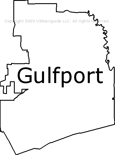Gulfport Mississippi Zip Code Boundary Map Ms