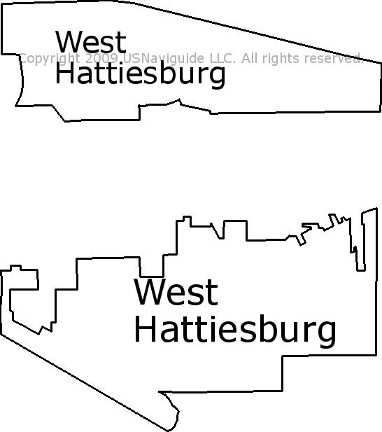 Hattiesburg Zip Code Map.West Hattiesburg Mississippi Zip Code Boundary Map Ms