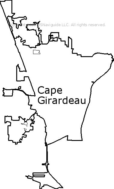 Cape Girardeau Missouri Zip Code Boundary Map Mo