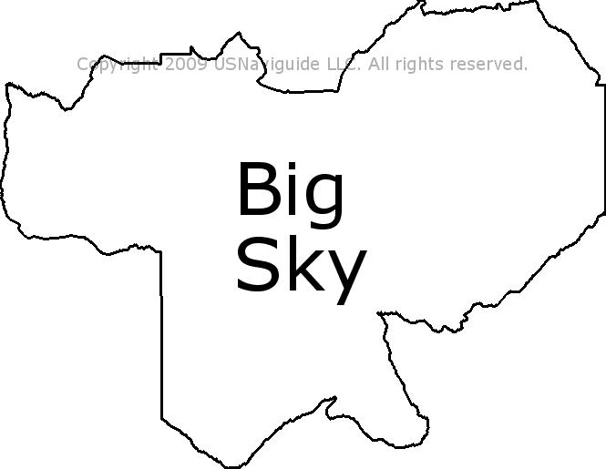 Big Sky Montana Zip Code Boundary Map Mt