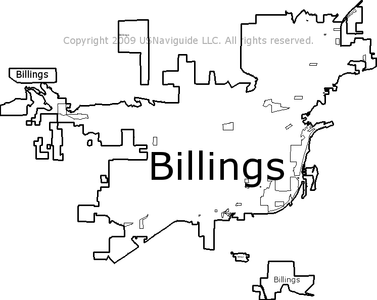 Billings, Montana Zip Code Boundary Map (MT)