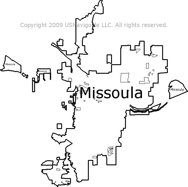 Missoula Montana Zip Code Boundary Map Mt