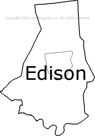Edison Nj Zip Code Map Edison, New Jersey Zip Code Boundary Map (NJ)