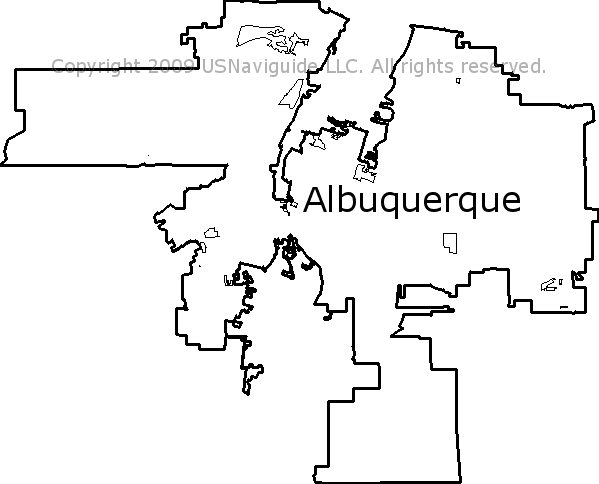Albuquerque New Mexico Zip Code Boundary Map Nm