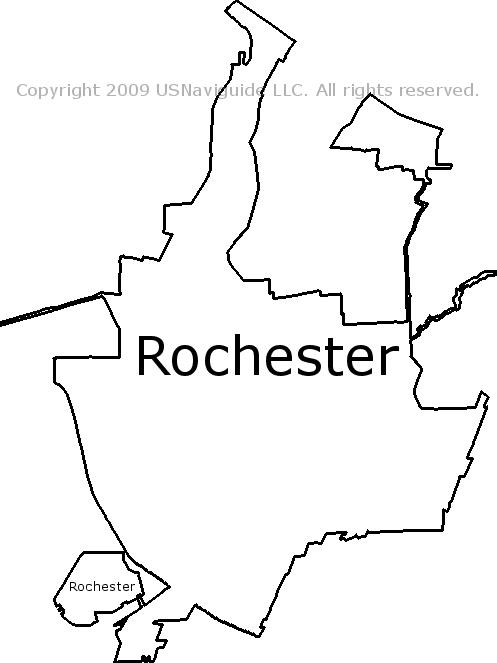 Rochester New York Zip Code Boundary Map Ny